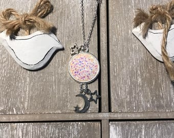 Moonglow - Moon and stars, necklace, galaxy, cute, outer space, celestial