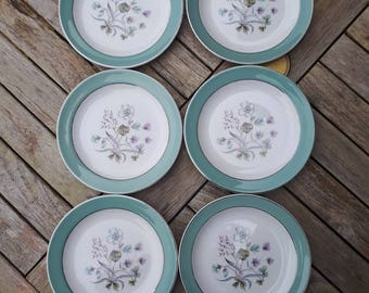 Six Midwinter Staffordshire Mayfield Tea Plates, Mid-century