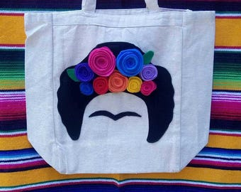 hand made felt frida kahlo tote