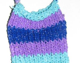 Light Blue, Dark Blue and Purple Rainbow Loom Purse