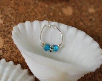 Teal Blue Swarovski Crystal Nose Ring