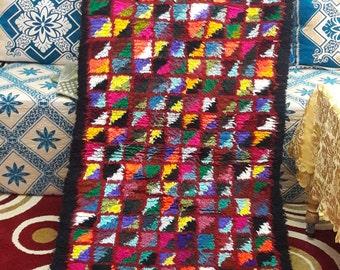 BOUCHROUITE RUG MOROCCAN berber handmade  rugs vintage carpet /carpets  cotton blend 2'95 x 8'7