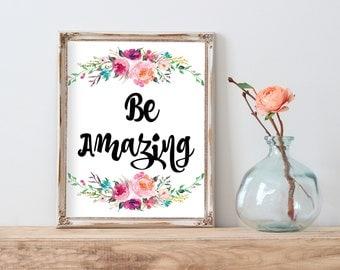 Hello Beautiful, Motivational Quote, Inspiration Quote, Quote Printable, Calligraphy Art, Dorm Decor, Nursery, Girl Room Decor