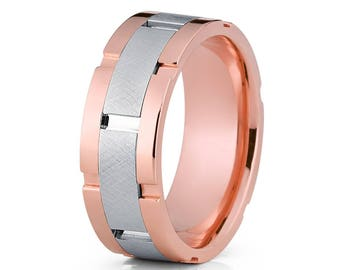 14k Rose Gold Wedding Band Men's Wedding Band Anniversary & Engagement White Gold Wedding Band Groove Comfort Fit Ring