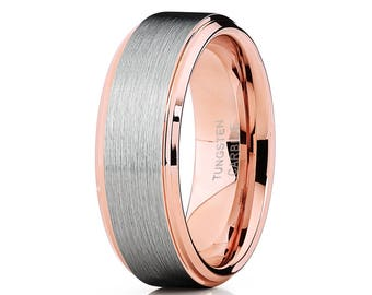 Rose Gold Tungsten Wedding Band Brush Tungsten Ring Men & Women Rose Gold Tungsten Ring Brush Tungsten Ring