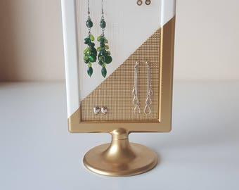 White and Gold Earring Holder