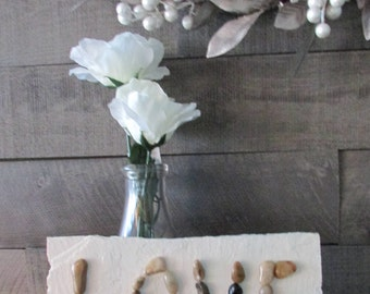 """Set it in stone slate """"Love"""" sign. Anniversary gift, Wedding gift, Birthday gift, Stone and slate sign, Classic decor, Country decor"""