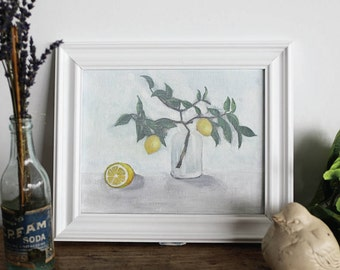 Lemons, Lemon Still life, lemon painting, lemon branch, lemon oil painting