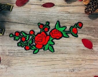 rose patch-long-flower patch-diy-embroidered -iron on -patch for jacket-sew on-applique