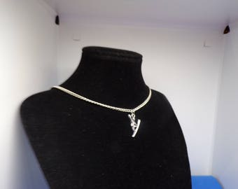 Aged with surfer charm silver necklace