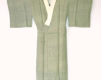 Authentic Japanese Juban Kimono Gown Green Silk M75