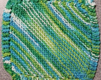 Handmade Knitted Dishcloth - Emerald Energy