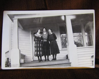 Vintage Real Photo Postcard in Black & White Dated 1918 - 1930 Front Porch w Three Standing Women