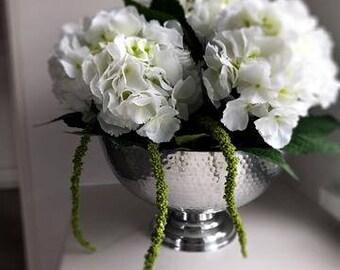ARTIFICIAL ARRANGEMENT  White Hydrangeas,Amaranthus & foliage l Chrome goblet vase