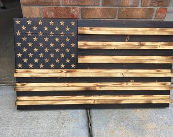Charred (Subdued) Wooden American Flag Coin Rack