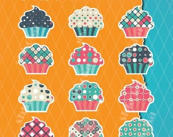 Digital Clipart cupcakes, retro pattern cupcakes, PNG, Instant Download, cupcakes clipart, craft, scrapbook, unique cupcake