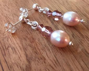 Lavender Pearl Drop Earrings, Freshwater Cultured Pearls, Swarovski Crystal, 925 Sterling Silver Posts & Butterfly Backs, Rice Pearls