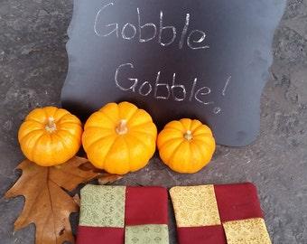 Set of 4- Fall/Thanksgiving Fabric Drink Coasters/ Mug Rugs
