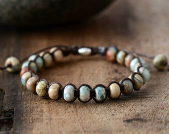 Shamballa Bracelet Natural Stone, Beaded Semi Precious Stone Bracelet