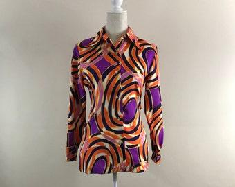 Vintage 1970s, Women's Medium, Psycheldelic Blouse, Long Sleeved Shirt