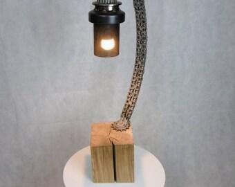Wood metal lamp.