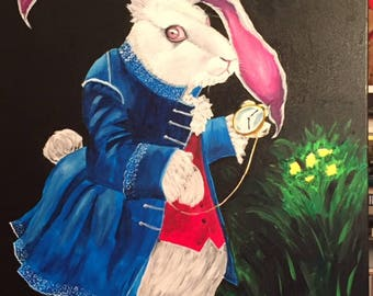 white rabbit original acrylic painting