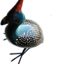 African Guinea Fowl Figurine- Hand-Carved & Hand-Painted