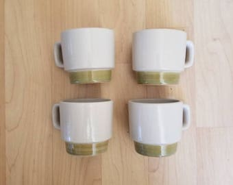 Set of 4 Cream and Avocado Green Vintage Stackable Coffee Mugs Made in Japan