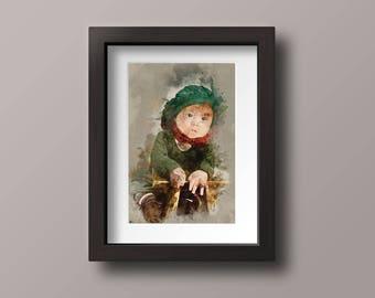 Custom portret, photo as painting, digital painging, aquarel, custom art, custom aquarel painting