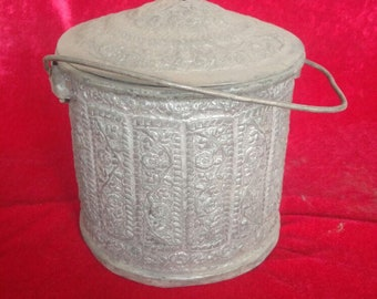 Hand Made Vintage Rustic Ottoman Style Antique Brass Bucket #1207