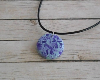 Purple and blue marbled fimo necklace