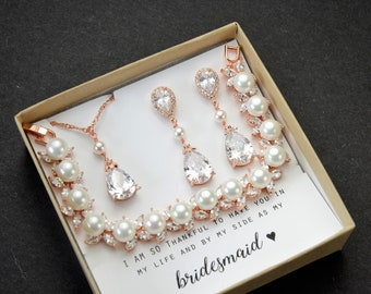 Bridesmaid Gift Pearl Bridesmaid Earrings Bridesmaid Jewelry Set  Bridal Earrings Personalized Wedding Earrings Mother of Bride Jewelry Set