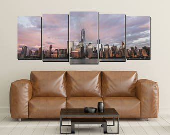 New York City Canvas Wall Art, Sunset, Skyline Large 5 Panel Canvas, Home Decor Wall, Big City, East Coast