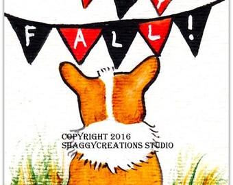Happy Fall Banner Corgi Art Card Original Painting ACEO ~ Animal Art ~ Pembroke Welsh Corgi Art ~ Autumn Art ~ Dog Art ~ Nursery Decor ~