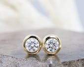 14k Yellow Gold Forever Classic Moissanite Stud Earrings - 1 Carat Total Weight - Diamond Alternative 5mm Lab Grown Stones - READY TO SHIP