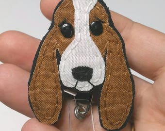 Basset Hound Badge Reel,Hound Dog Badge Holder,Basset Hound,Dog,Badge Card Holder, ID Holder,Nurse ID,Handmade Badge Reel,Hound,gift