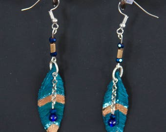 Turquoise and Gold Leather Feather Earrings