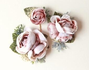 Ivory and plum flower clip set, Autumn wedding hair clips , Maroon flower headpiece, bridal hair accessory, Purple flower clips, floral pins