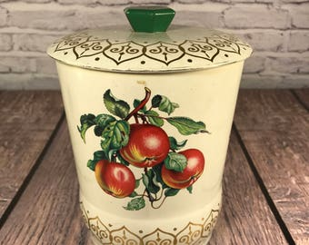 Summer Fruit - Cookie or Biscuit Tin - England - White and Gold - Litho