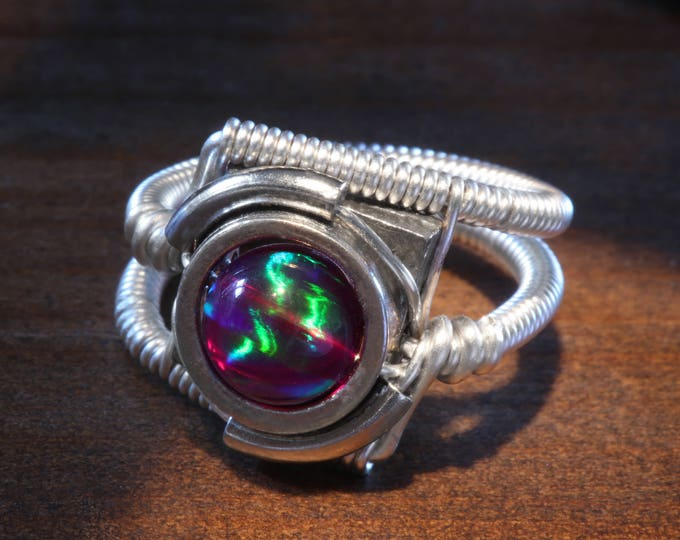 Steampunk Jewelry - Ring - Purple Galaxy Lab Created Opal