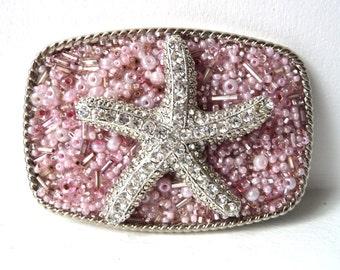 """Starfish Belt Buckle- Womans Pink Belt Buckle- Rhinestone Belt Buckle- Starfish Sea Star - Women's Gift Idea - Resort Wear Cruise - 3 1/4"""" w"""