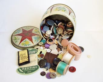 Vintage Tin Full of Buttons and Sewing Paraphenalia - Haberdashery and Notions in Old Sweet Tin
