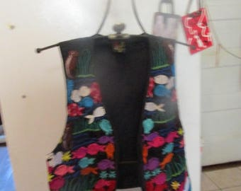 EMBORDERED FISH VEST Great for Elementary Teacher or Anyone Working With Children