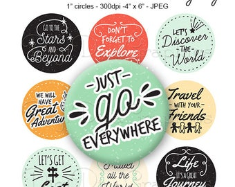 Let's Adventure Bottle Cap Travel Sayings Digital Art Collage Set 1 Inch Circle 4x6 - Instant Download - BC1175