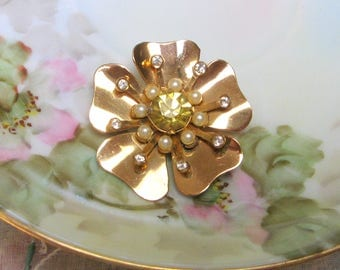 Vintage RHINESTONE Pin FLOWER Brooch CORO Signed Sterling Gold Vermeil Pearl Old Costume Jewelry 1940s