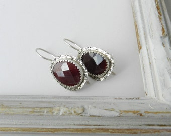 Bezel Set Genuine Rose Cut Garnet and Sterling Earrings--Metalsmith--Minimalist--Modern