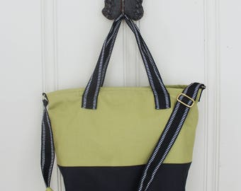 Colorblock Travel Tote Bag - Olive and Black Two-Tone Tote Bag - Lined Travel Tote Bag with Pockets - Crossbody Tote Bag - Made to Order