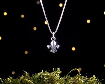 Sterling Silver Fleur de Lis - Small, Double Sided - (Charm, Necklace, or Earrings)