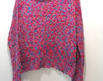 """Drapey Pink Rainbow Sweater Nubby Knit Summer Cropped Drapey Sweater New Wave Cotton PullOver Top 36"""" Chest"""