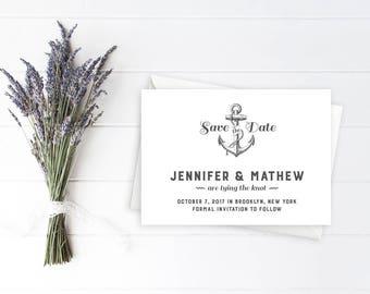 Save the Date, Wedding Stationery, Nautical Design, Anchor Design, Nautical Wedding, Wedding by the Sea, Boat Wedding